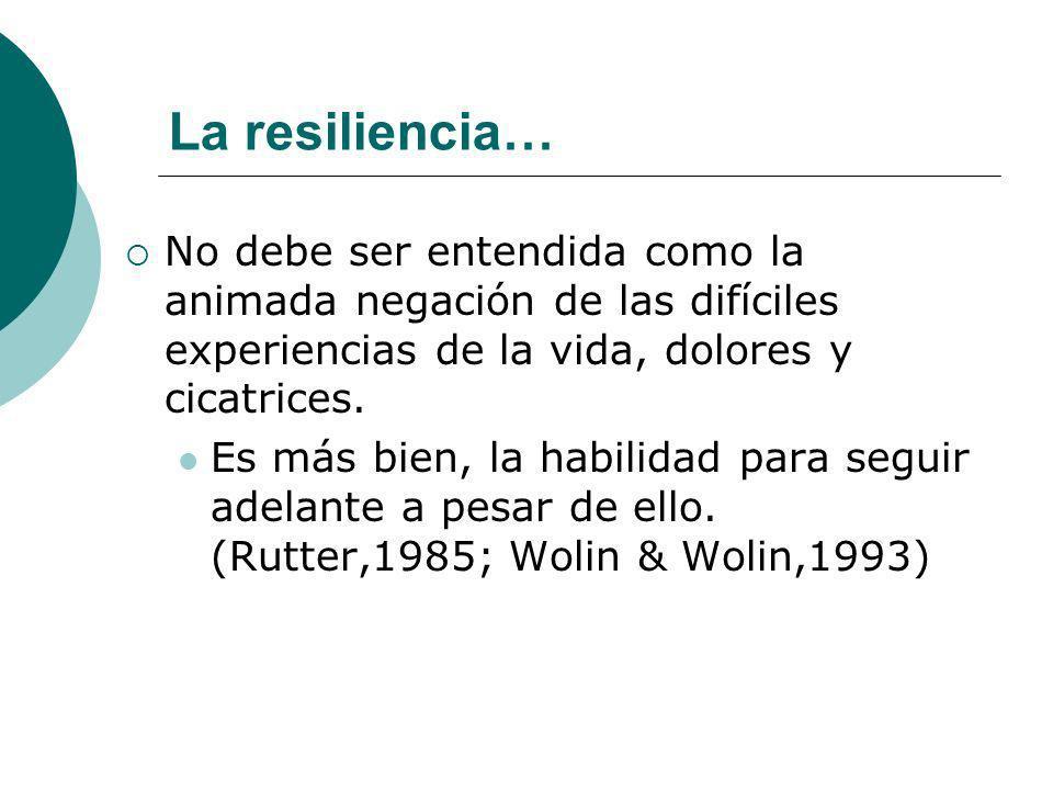 La resiliencia…No debe ser entendida como la animada negación de las difíciles experiencias de la vida, dolores y cicatrices.