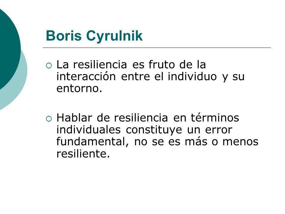 Boris CyrulnikLa resiliencia es fruto de la interacción entre el individuo y su entorno.