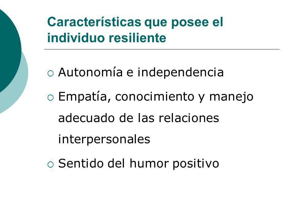 Características que posee el individuo resiliente