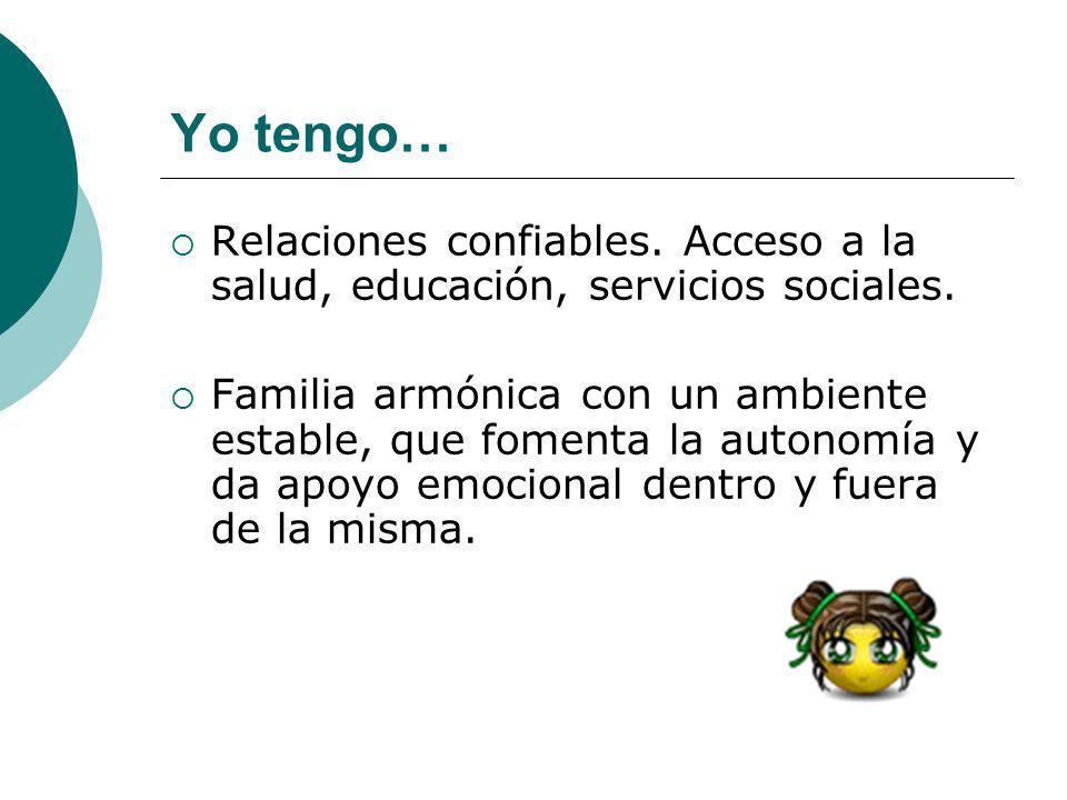 Yo tengo…Relaciones confiables. Acceso a la salud, educación, servicios sociales.