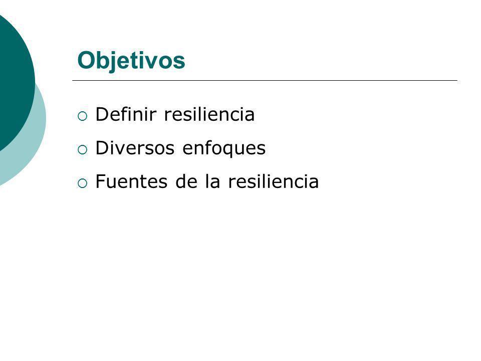 Objetivos Definir resiliencia Diversos enfoques