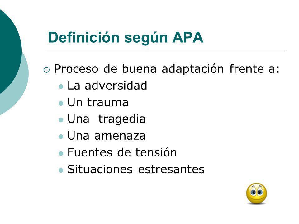Definición según APA Proceso de buena adaptación frente a: