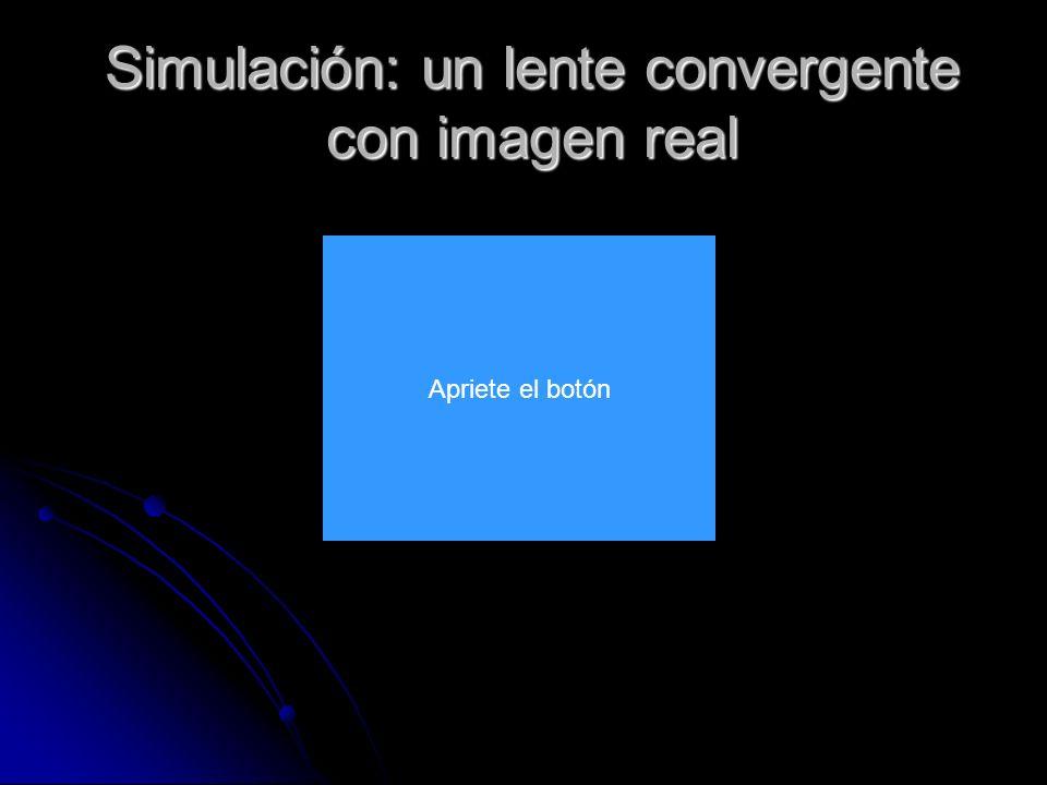 Simulación: un lente convergente con imagen real