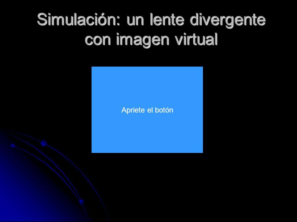 Simulación: un lente divergente con imagen virtual