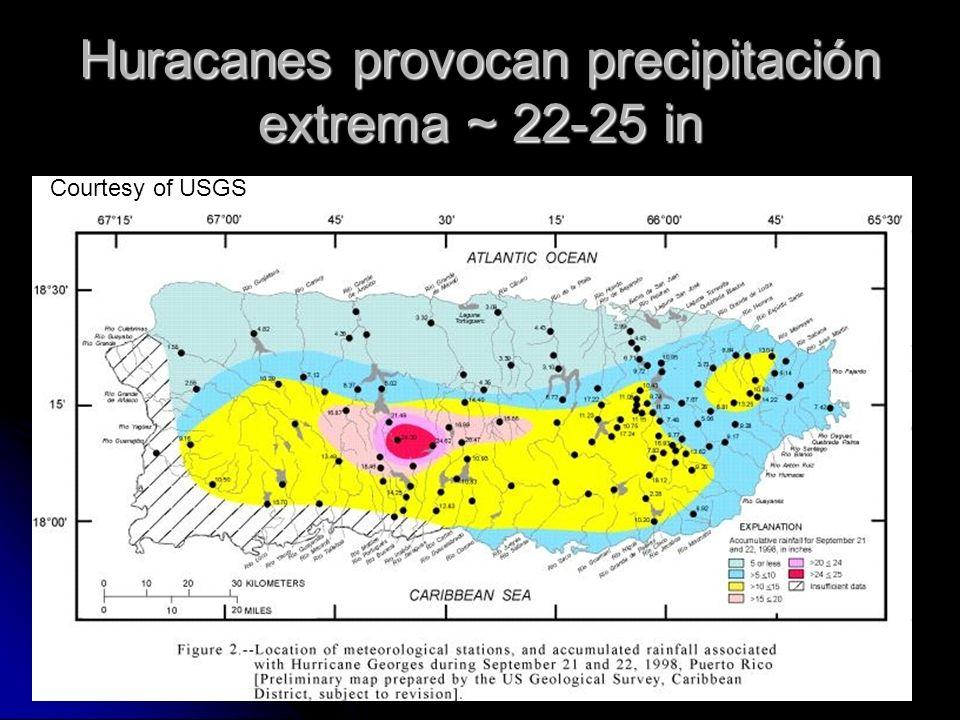 Huracanes provocan precipitación extrema ~ 22-25 in