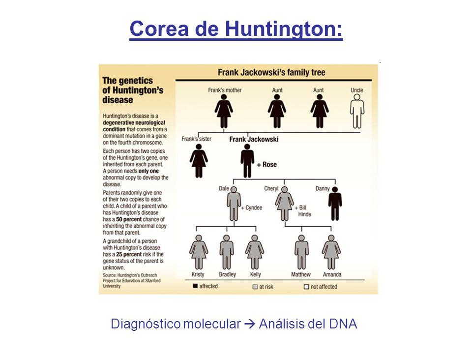 Corea de Huntington: Diagnóstico molecular  Análisis del DNA