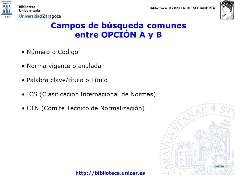 Campos de búsqueda comunes entre OPCIÓN A y B
