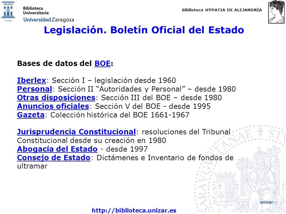 Legislación. Boletín Oficial del Estado