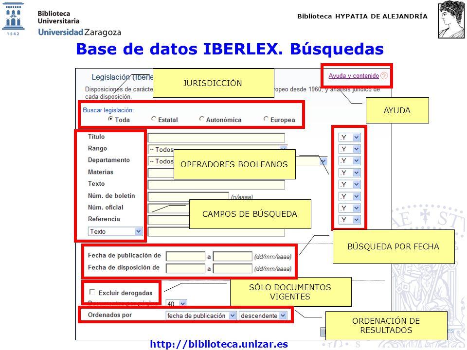 Base de datos IBERLEX. Búsquedas