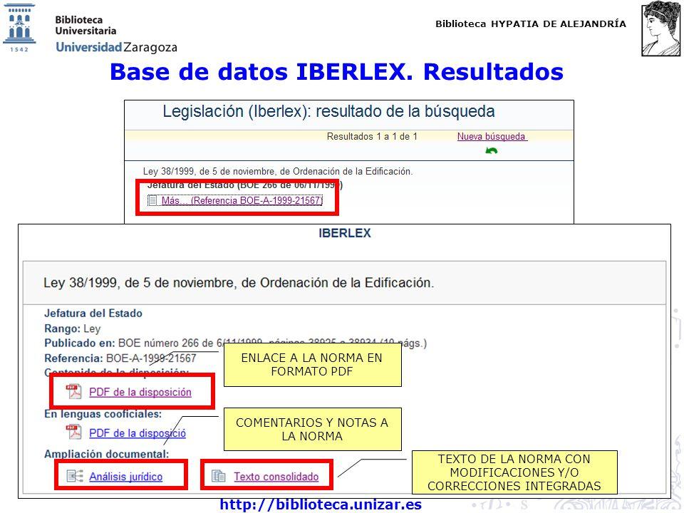 Base de datos IBERLEX. Resultados