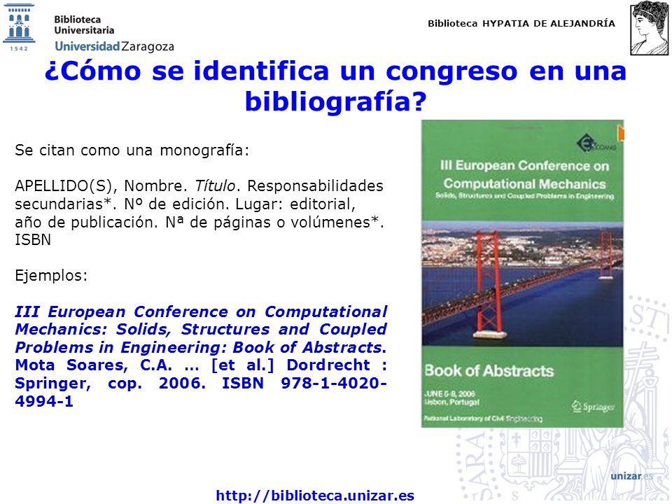 ¿Cómo se identifica un congreso en una bibliografía