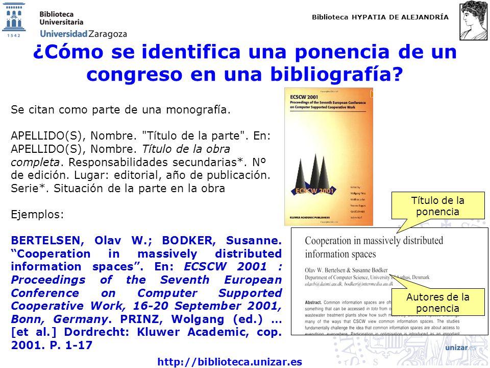 ¿Cómo se identifica una ponencia de un congreso en una bibliografía