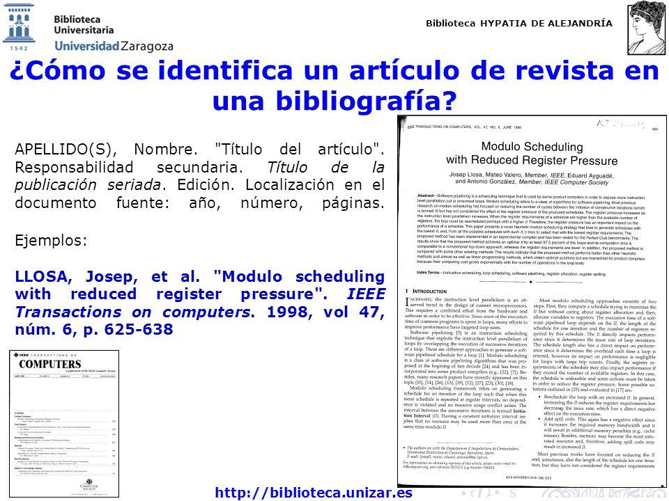 ¿Cómo se identifica un artículo de revista en una bibliografía