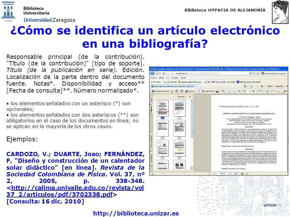 ¿Cómo se identifica un artículo electrónico en una bibliografía