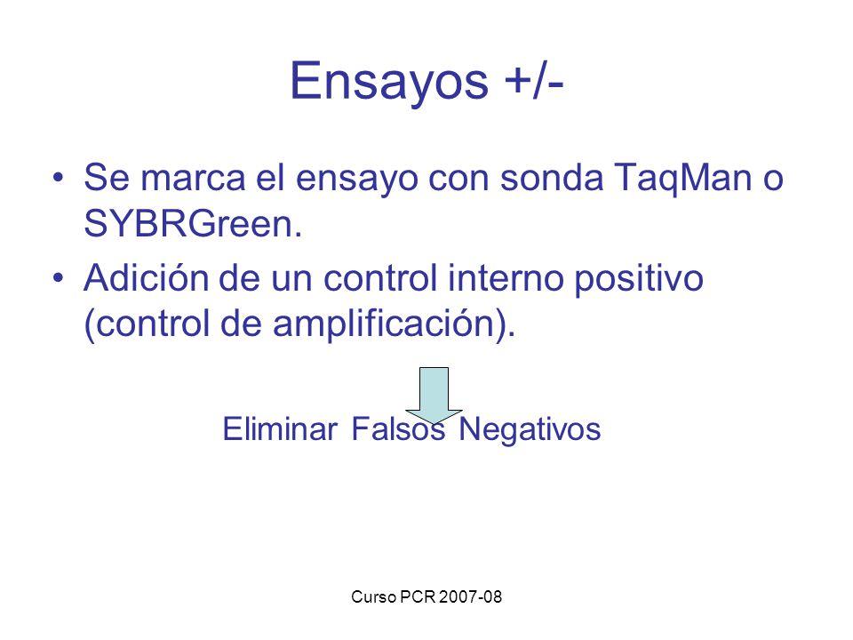 Ensayos +/- Se marca el ensayo con sonda TaqMan o SYBRGreen.