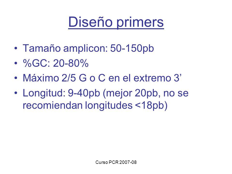 Diseño primers Tamaño amplicon: 50-150pb %GC: 20-80%
