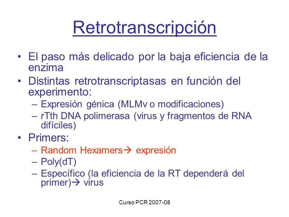 Retrotranscripción El paso más delicado por la baja eficiencia de la enzima. Distintas retrotranscriptasas en función del experimento: