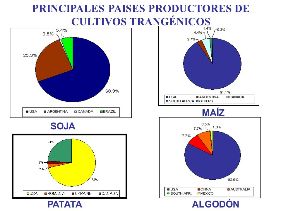 PRINCIPALES PAISES PRODUCTORES DE CULTIVOS TRANGÉNICOS