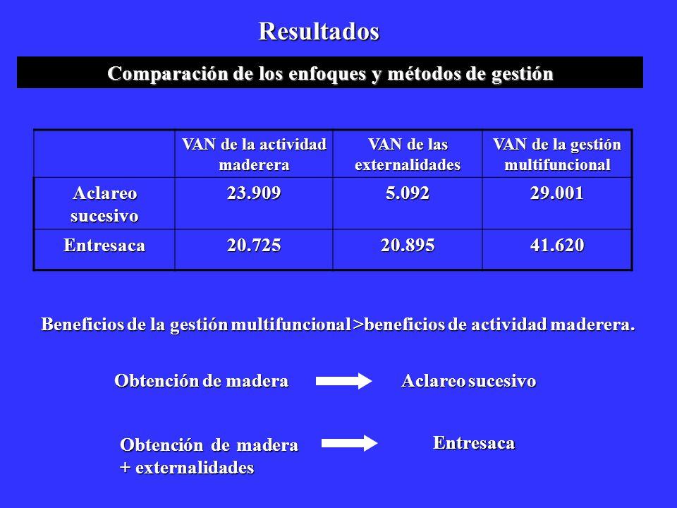 Resultados Comparación de los enfoques y métodos de gestión