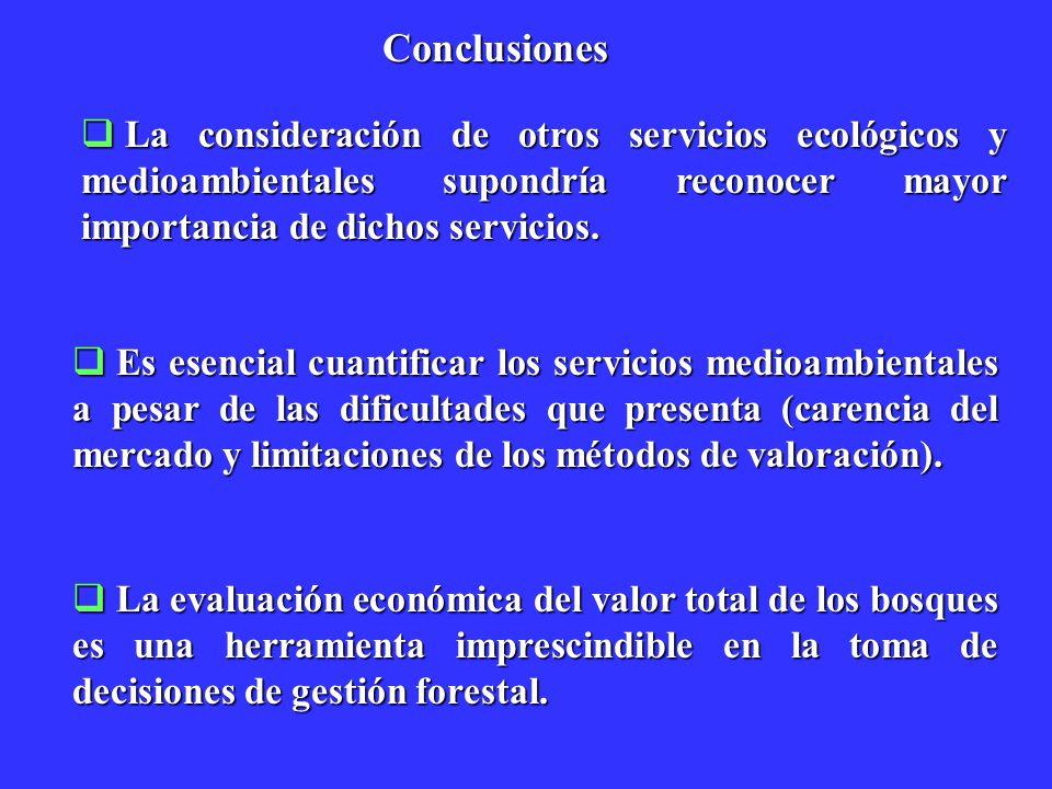 Conclusiones La consideración de otros servicios ecológicos y medioambientales supondría reconocer mayor importancia de dichos servicios.