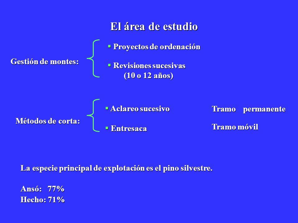 El área de estudio Proyectos de ordenación Revisiones sucesivas