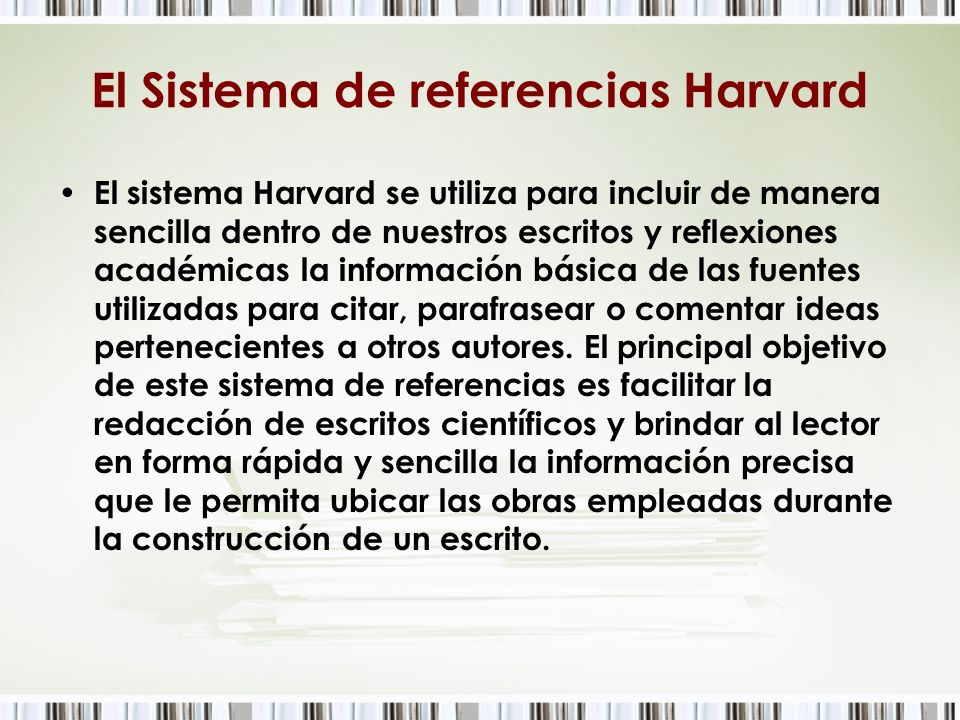 El Sistema de referencias Harvard