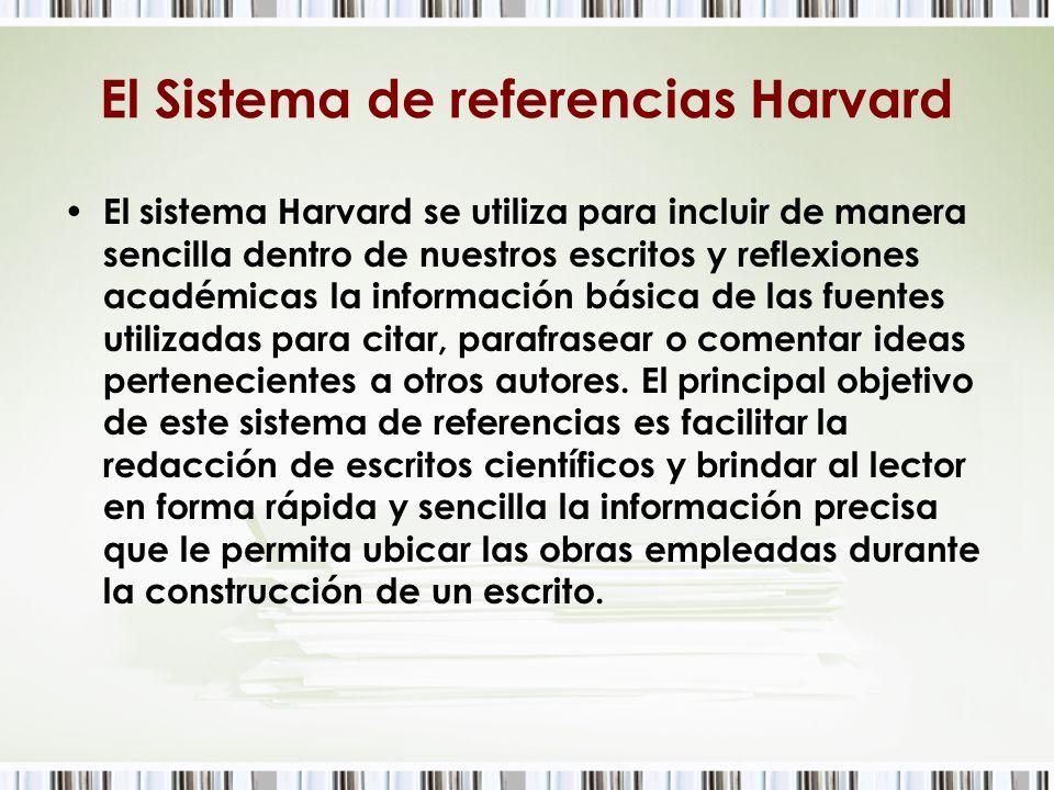 El Sistema de referencias Harvard