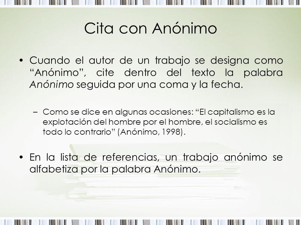 Cita con AnónimoCuando el autor de un trabajo se designa como Anónimo , cite dentro del texto la palabra Anónimo seguida por una coma y la fecha.