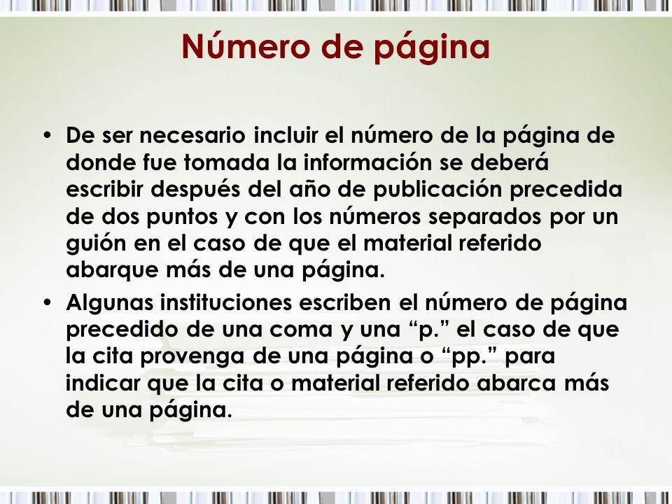 Número de página