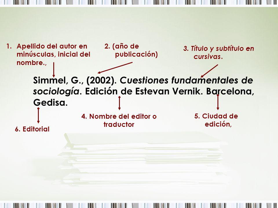 4. Nombre del editor o traductor