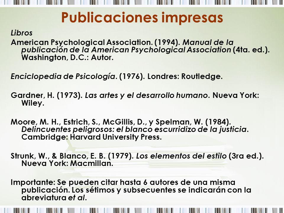 Publicaciones impresas