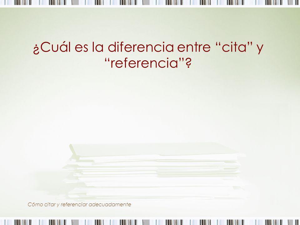 ¿Cuál es la diferencia entre cita y referencia
