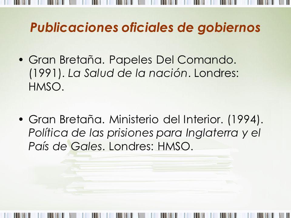 Publicaciones oficiales de gobiernos