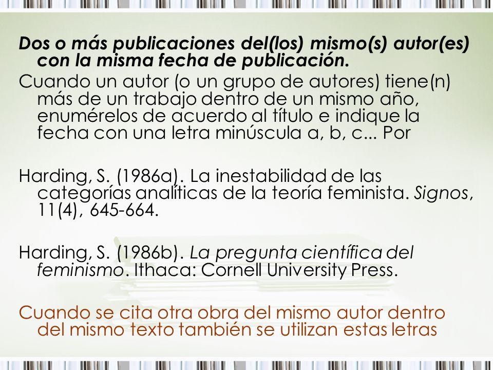 Dos o más publicaciones del(los) mismo(s) autor(es) con la misma fecha de publicación.