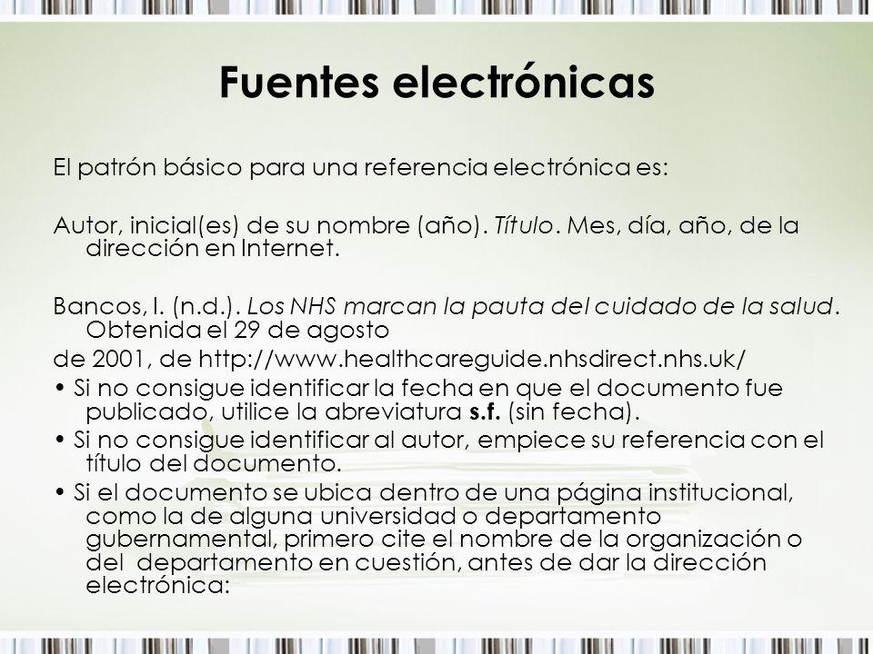 Fuentes electrónicas El patrón básico para una referencia electrónica es: