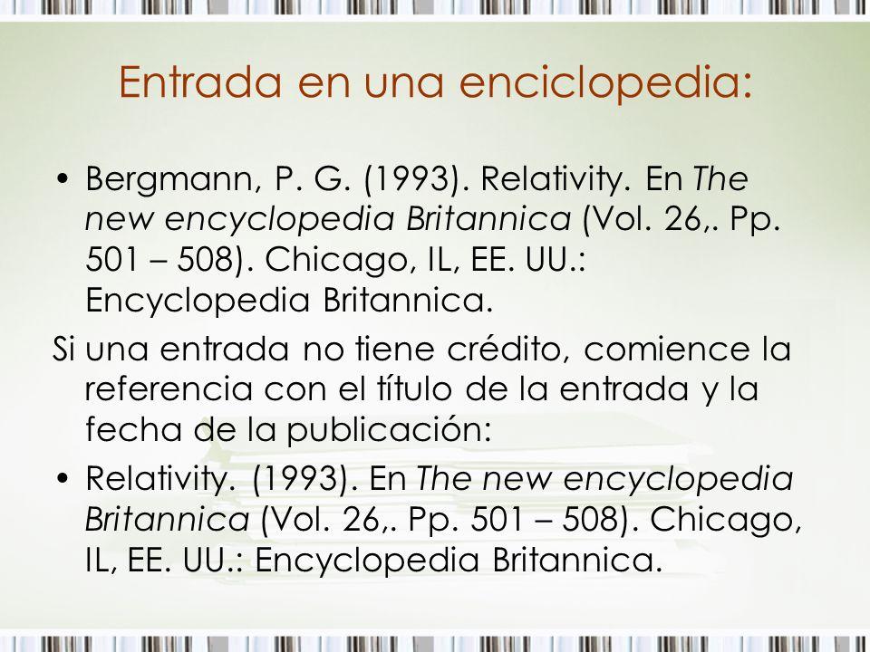 Entrada en una enciclopedia: