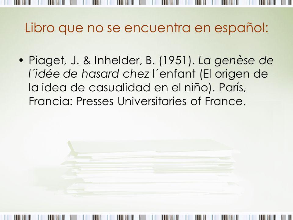 Libro que no se encuentra en español: