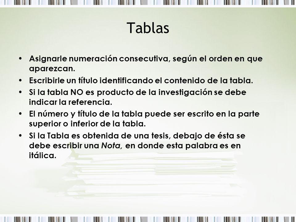 Tablas Asignarle numeración consecutiva, según el orden en que aparezcan. Escribirle un título identificando el contenido de la tabla.