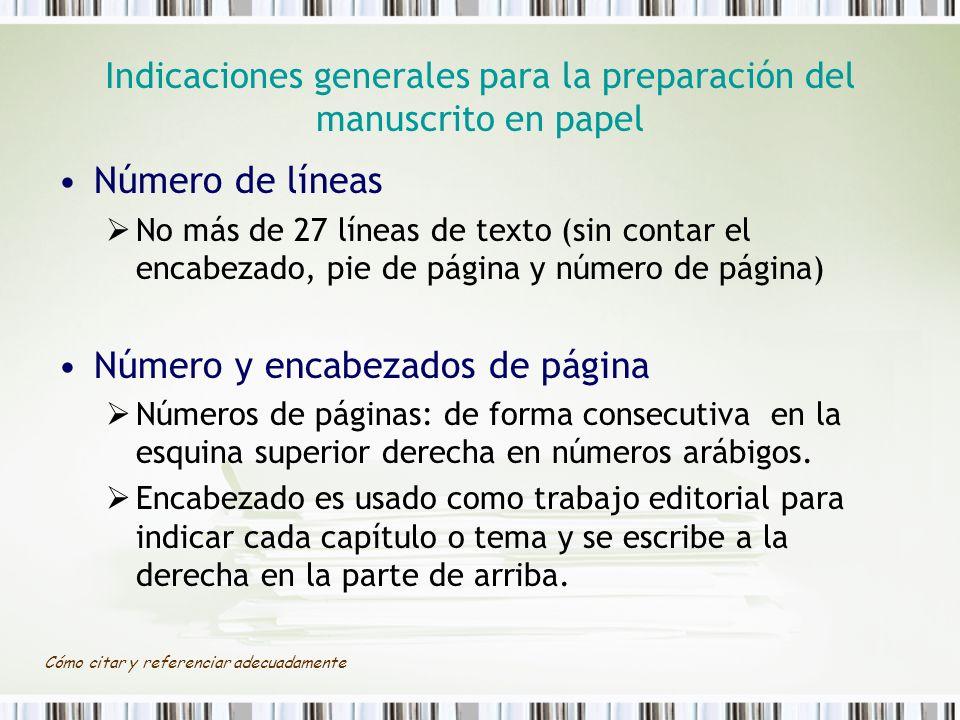 Indicaciones generales para la preparación del manuscrito en papel