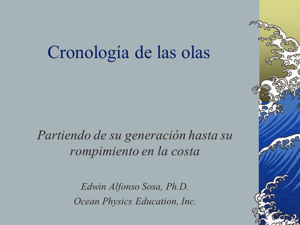 Cronología de las olas Partiendo de su generación hasta su rompimiento en la costa. Edwin Alfonso Sosa, Ph.D.