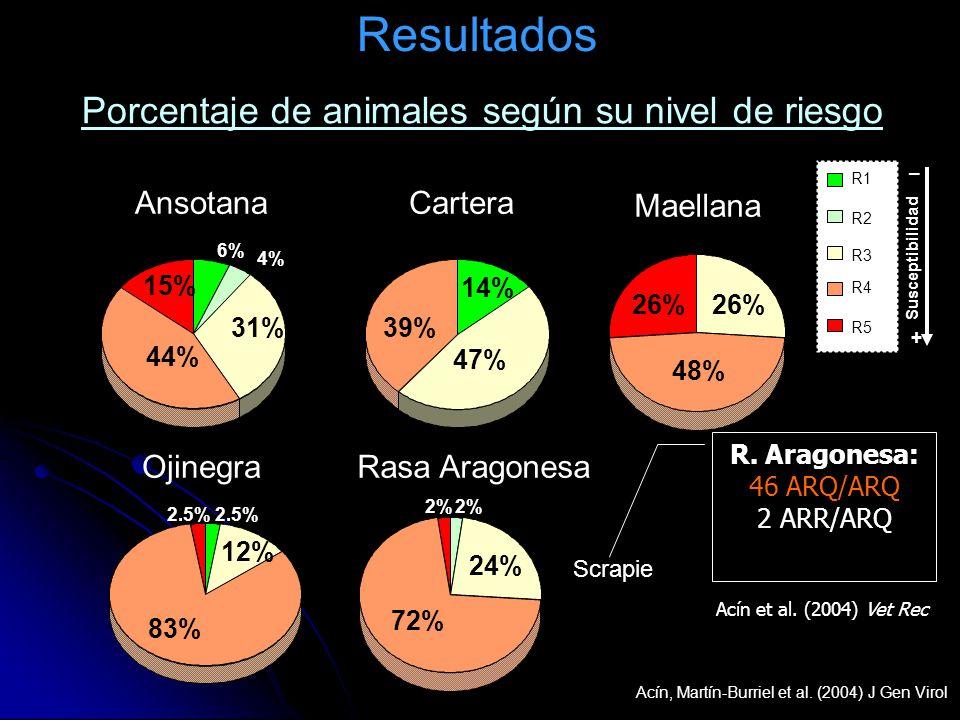 Resultados Porcentaje de animales según su nivel de riesgo Ansotana