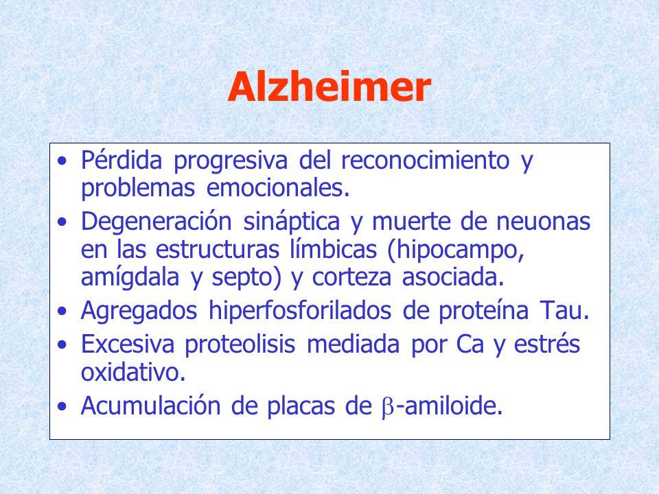 Alzheimer Pérdida progresiva del reconocimiento y problemas emocionales.