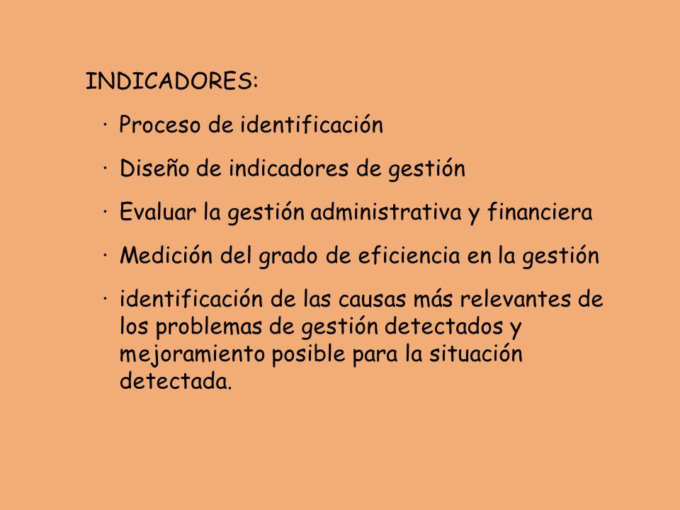INDICADORES: · Proceso de identificación. · Diseño de indicadores de gestión. · Evaluar la gestión administrativa y financiera.