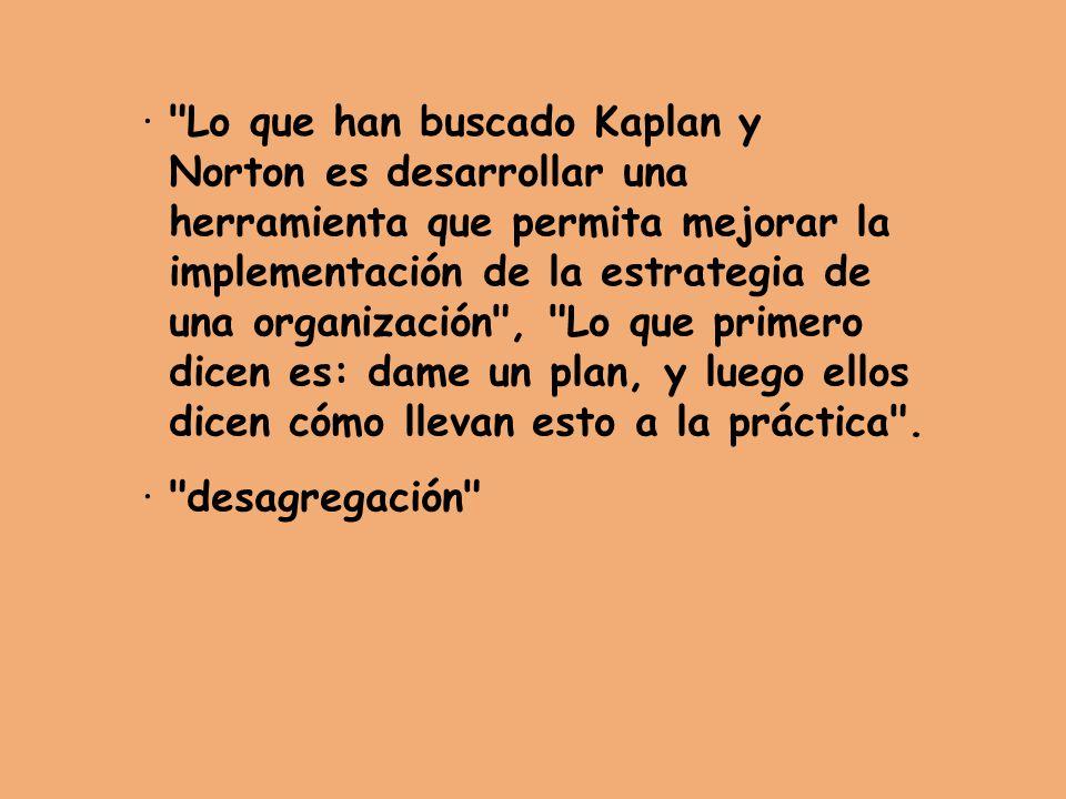 · Lo que han buscado Kaplan y. Norton es desarrollar una. herramienta que permita mejorar la. implementación de la estrategia de.