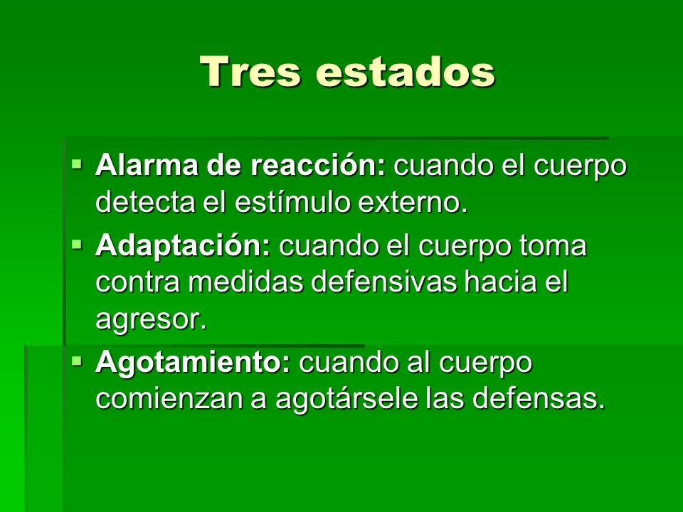 Tres estados Alarma de reacción: cuando el cuerpo detecta el estímulo externo.
