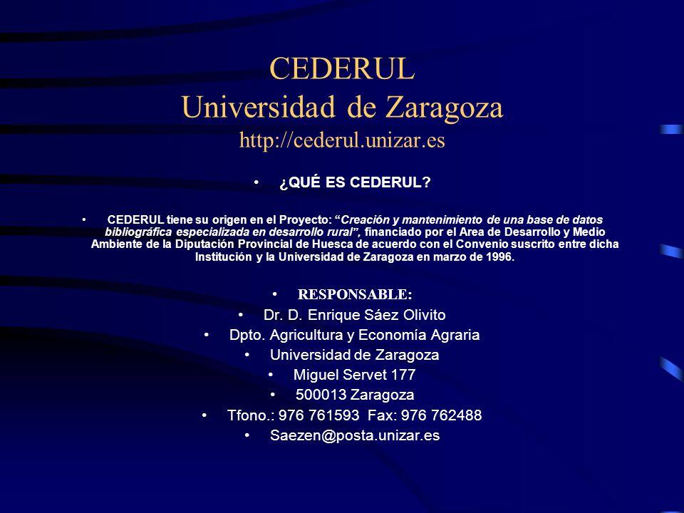 CEDERUL Universidad de Zaragoza http://cederul.unizar.es