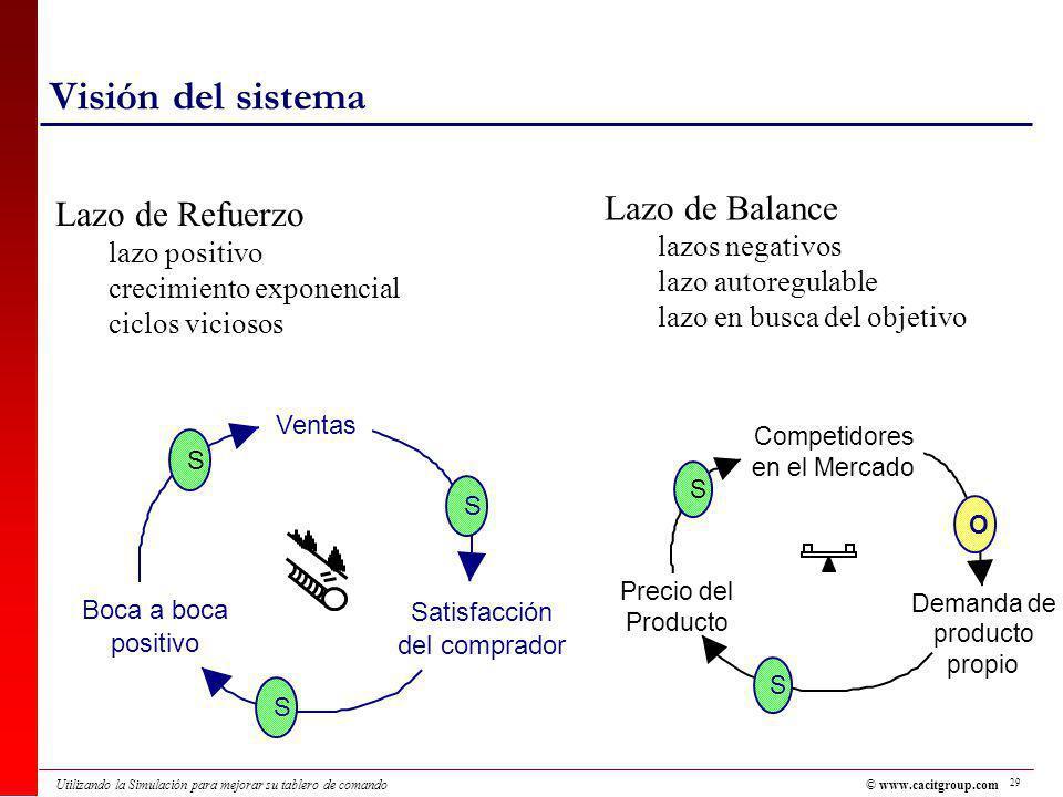 Visión del sistema Lazo de Balance Lazo de Refuerzo lazos negativos