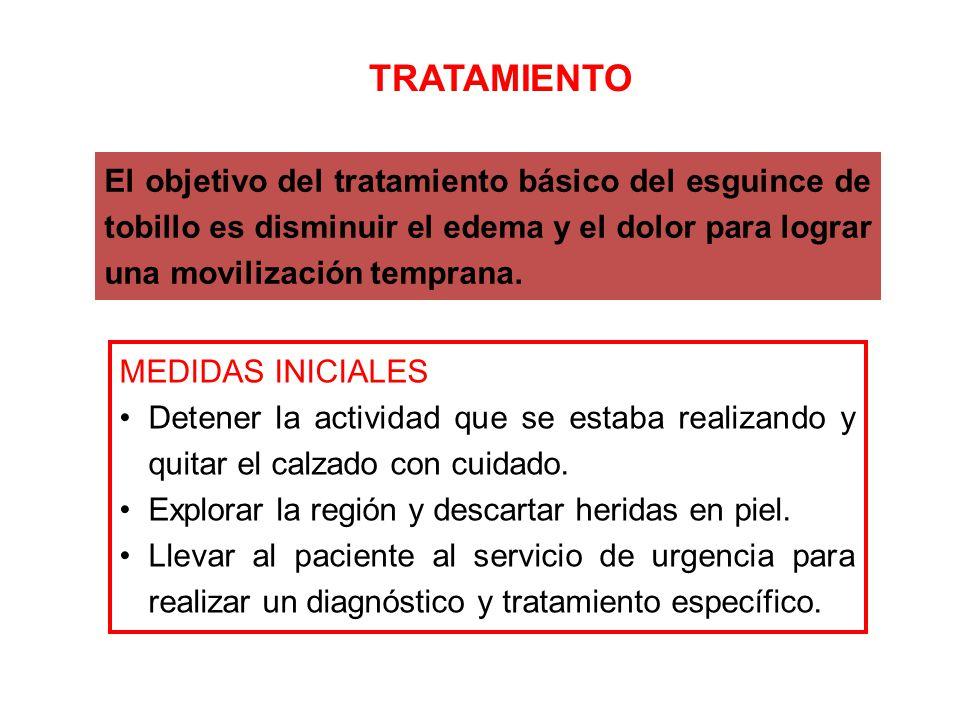 TRATAMIENTO El objetivo del tratamiento básico del esguince de tobillo es disminuir el edema y el dolor para lograr una movilización temprana.