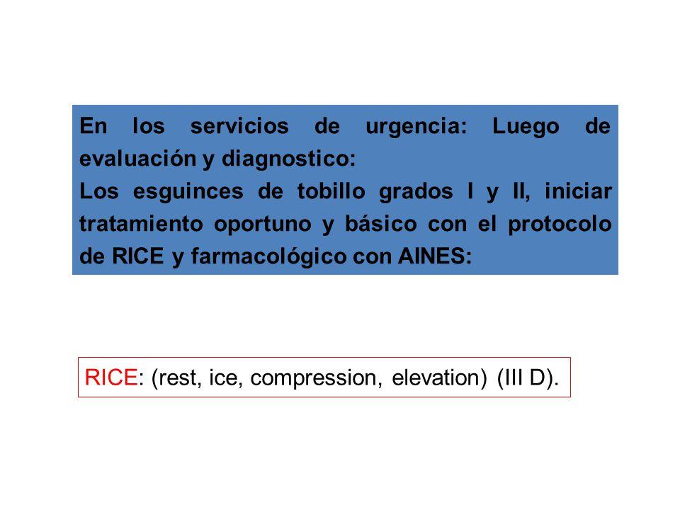 En los servicios de urgencia: Luego de evaluación y diagnostico:
