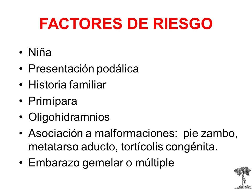 FACTORES DE RIESGO Niña Presentación podálica Historia familiar
